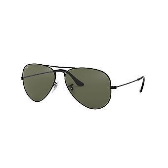 Ray-Ban Aviator RB3025 002/58 svart/polariserad kristall grön solglasögon