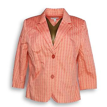 Isaac Mizrahi Ao Vivo! Women's Blazer Rope Print Peach Orange A262834