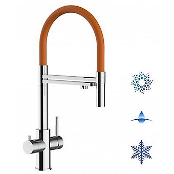 5-way Inox Filter Tap Orange Spout And 2 Jets Spray, Ideal For Sparkling, Plain And Cooled Water Systems - Polished - 438