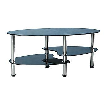 Cara Coffee Table - Black Glass/silver