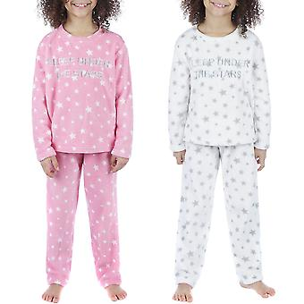 Selena Mädchen Kinder Langarm Super weiche Fleece Top Böden Sleepwear Pyjama Set