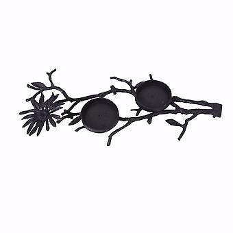 Uniquely Designed Iron T-Light Candle Holder, Black