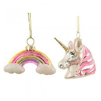 Sass & Belle Unicorn & Rainbow Glass Baubles | Handpicked Gifts