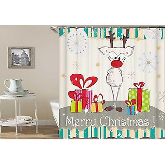 Reindeer Guarding The Presents Drawing Shower Curtain