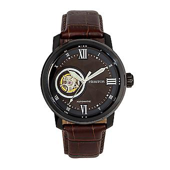 Heritor Automatic Maxim Semi-Skeleton Leather-Band Watch - Black/Brown