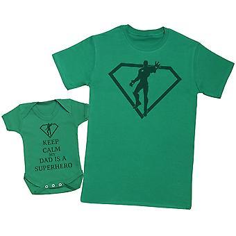 Kalmte bewaren mijn vader is een superheld matching vader Baby Gift Set-mens T shirt & Baby Romper