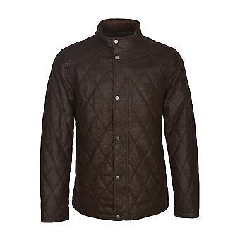 Ellis faux Leather gewatteerde jas in bruin