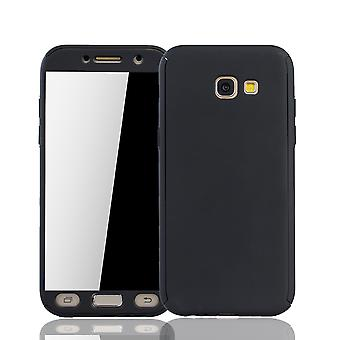 Samsung Galaxy A3 2017 Capa protetora caso de telefone capa de tanque proteção do vidro preto