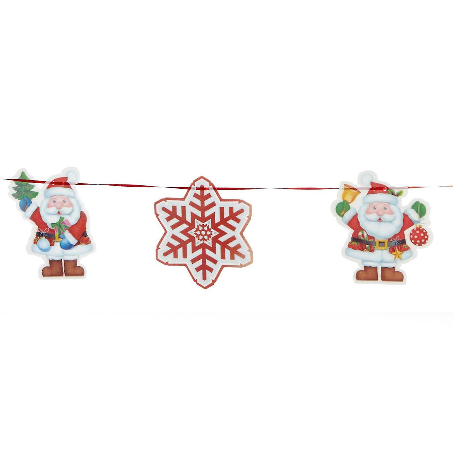 TRIXES 2M Holographic Christmas Santa and Snowflake 3D Garland 9PC with Ribbon