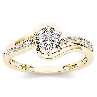 Igi gecertificeerd 10k geel goud 0,25 ct diamant bloem bypass verlovingsring