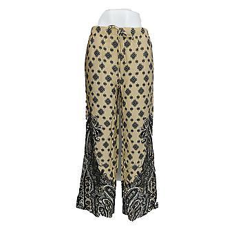 Isaac Mizrahi Live! Kvinner ' s bukser Paisley print bredt etappe beige A277731