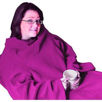 Fleece deken met mouwen roze