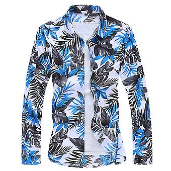 Allthemen Men's Casual Retro Printed Vegetation Lapel Long-Sleeve Shirt