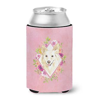 Carolines Treasures  CK4201CC White Collie Pink Flowers Can or Bottle Hugger