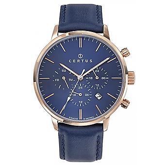 Horloge Certus 611147-chronograaf Bo tier staal dor staal roze lederen armband blauw leer mannen