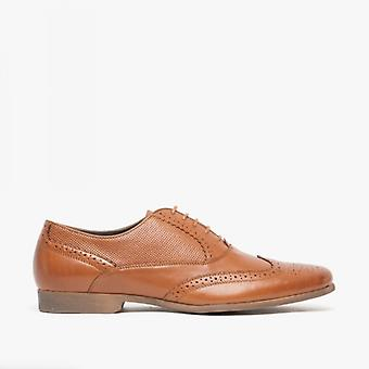 Front Lagoon Mens Perforated Leather Brogue Shoes Brown