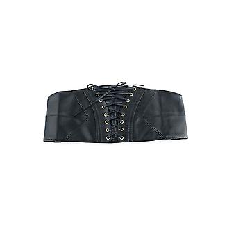 Ceinture de taille corset en cuir en cuir pu noir pour femmes avec dentelle noire et motif Chevron