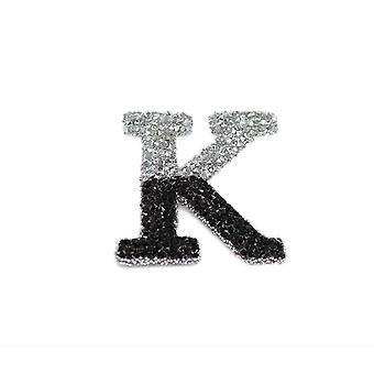 Black and Silver Double Glitter Alphabet Sticker - K