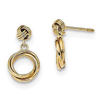 9.5mm 14k Madi K Gepolijst Love Knot Met kleine fancy bungelen Post Oorbellen Sieraden Geschenken voor vrouwen