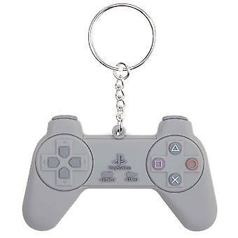 -Retro de goma de PlayStation llavero llavero controlador y gris nuevo oficial