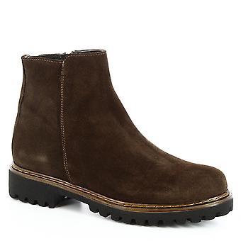 Leonardo Shoes Femme-apos;s bottines faites à la main en cuir brun foncé zip latéral en cuir