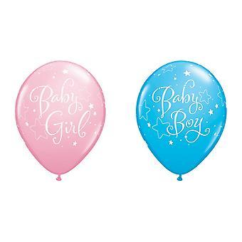 Qualatex 11 Inch Baby jongens/meisjes ster Design Latex ballonnen (Pack van 6)