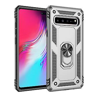 For Samsung Galaxy S10 5G Case, Armour Strong Cover 360 Rotation Holder, Silver