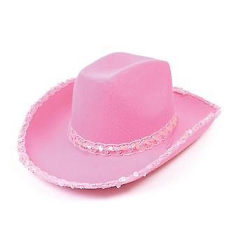 Cowboy Pink tuntui hattu + paljetteja