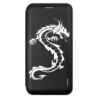 Case For Samsung Galaxy A71 Black Dragon Pattern White
