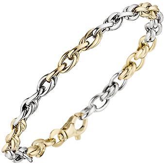 سوار 585 الذهب الأصفر الذهب الأبيض الذهب ثنائي اللون 19 سم الذهب سوار carabiner