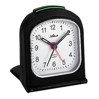 Atlanta 1267/7 herätyskello matkustaa herätyskello taitto herätyskello kvartsi analoginen musta