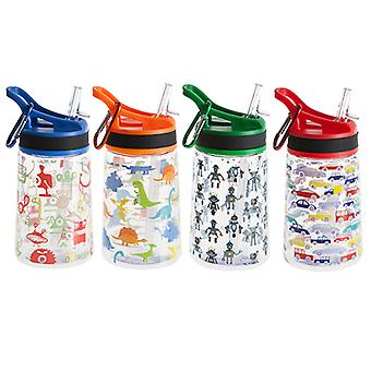 350ML BPA Free Water Bottle & Lid 4 Assorted Designs Kids