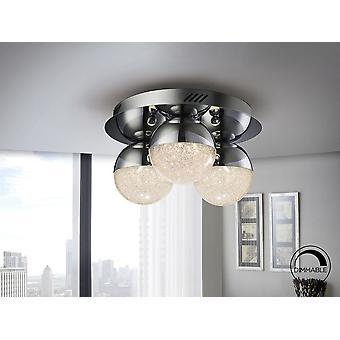 Sphère Schuller - lampe de plafond LED de 3 lumières. Fait de métal, finition chromée. Nuances sphériques de polycarbonate de 2 cm, avec texture à l'intérieur et métal chromé. 14.4W LED. 3 000 K. 1 000 lm. Graduable. - 794017