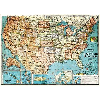 Cavallini USA Map States Wrapping Paper Poster