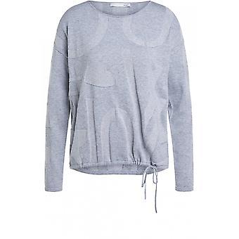 Oui Grau geprägt Pullover