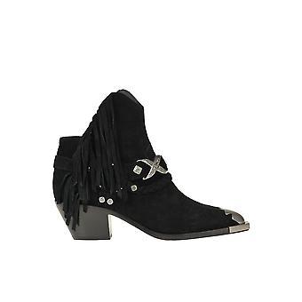 Ash Ezgl501007 Botas de tobillo de ante negro para mujer
