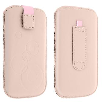 Pouch Case Circular Pattern Belt Case Pull Tab Pink