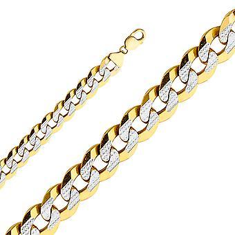 14k Yellow Gold Miami Curb 14mm Avec Rhodium Pave Chain Necklace Bijoux Bijoux pour les femmes - Longueur: 24 à 26