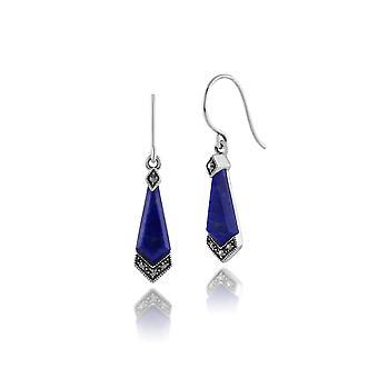 Art Deco Style Diamond Lapis Lazuli Cabochon & Marcasite Drop Earrings in 925 Sterling Silver 214E824804925