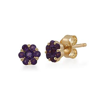 Floral Round Amethyst Cluster Stud Earrings in 9ct Yellow Gold 145E0114029