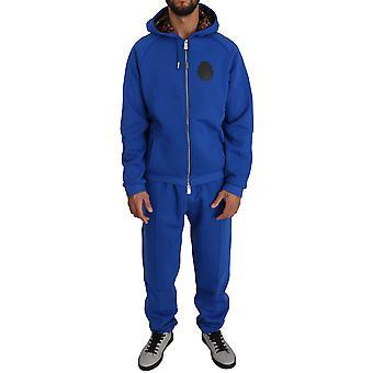 Billionaire Italian Couture Blue 100% Cotton Sweater Pants Tracksuit