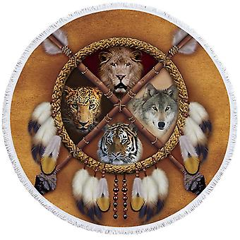 Lion Leopard Tiger Wolf ranta pyyhe