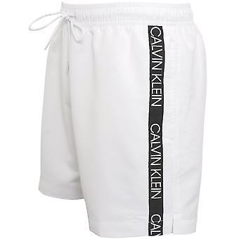 Calvin Klein Bonded Logo Tape Swim Shorts, Classic White