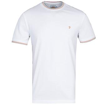 Farah Ringer Wit en Perzik T-shirt