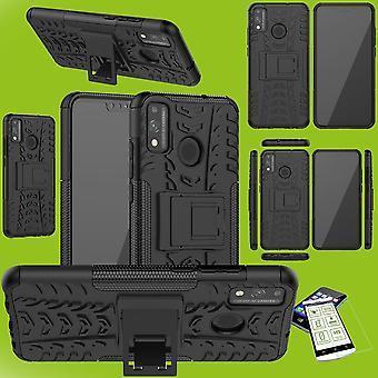 עבור Huawei כבוד 9X לייט היברידית במקרה 2-piece שחור + שרוול מזג טלפון זכוכית כיסוי שרוול מקרה