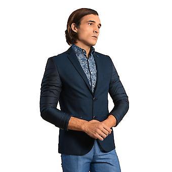Manica e posteriore trapuntato plaid navy blu cache blazer