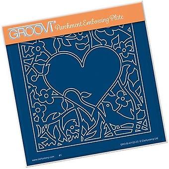 Groovi Bird Heart Sprig A5 Spuare Plate