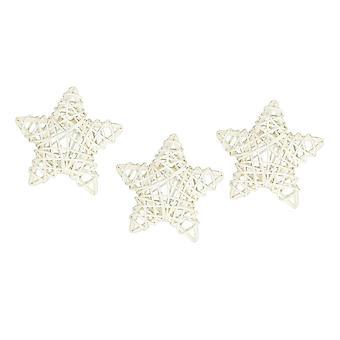 Rattan Stars - White - 9cm - 3pcs
