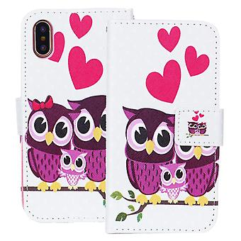 Shell for Apple iPhone X Owl Case Protection Motif Pattern Wallet Leather