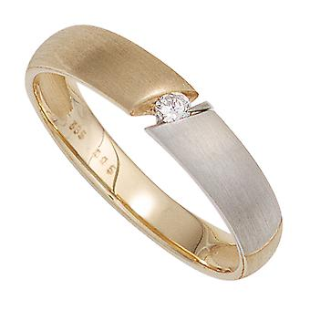 Damen Ring 585 Gold Gelbgold bicolor matt 1 Diamant Brillant 0,05ct. Goldring  Größe:60